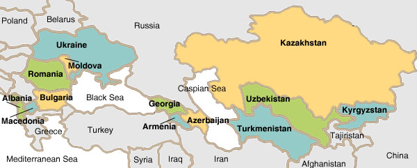 eastern europe and central asia map Peace Corps Region: Eastern Europe and Central Asia